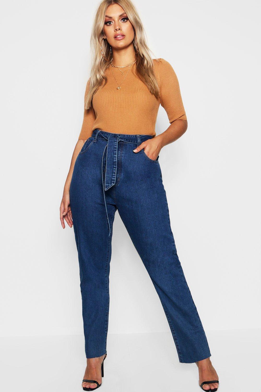 Plus Tie Waist Slim Straight Leg Jean