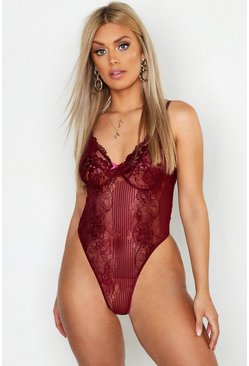 Body di pizzo con scollo profondo, Berry