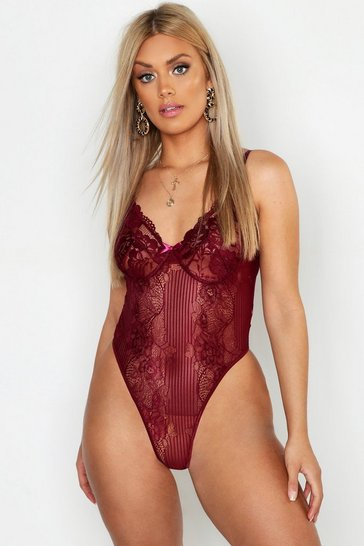 Berry Plus Lace Bodysuit