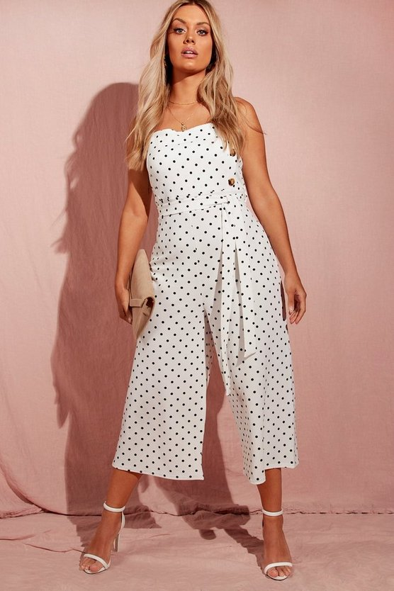 Plus Polka Dot Horn Button Culotte Jumpsuit