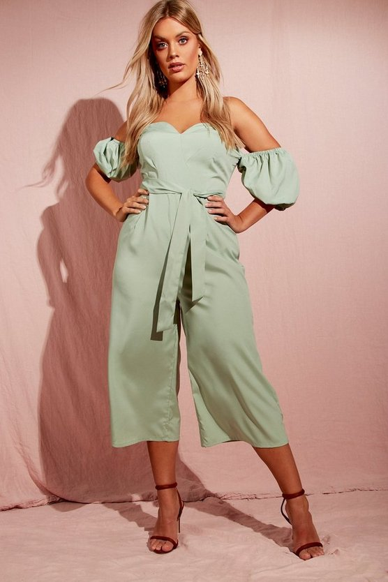 Plus Puff Sleeve Culotte Jumpsuit
