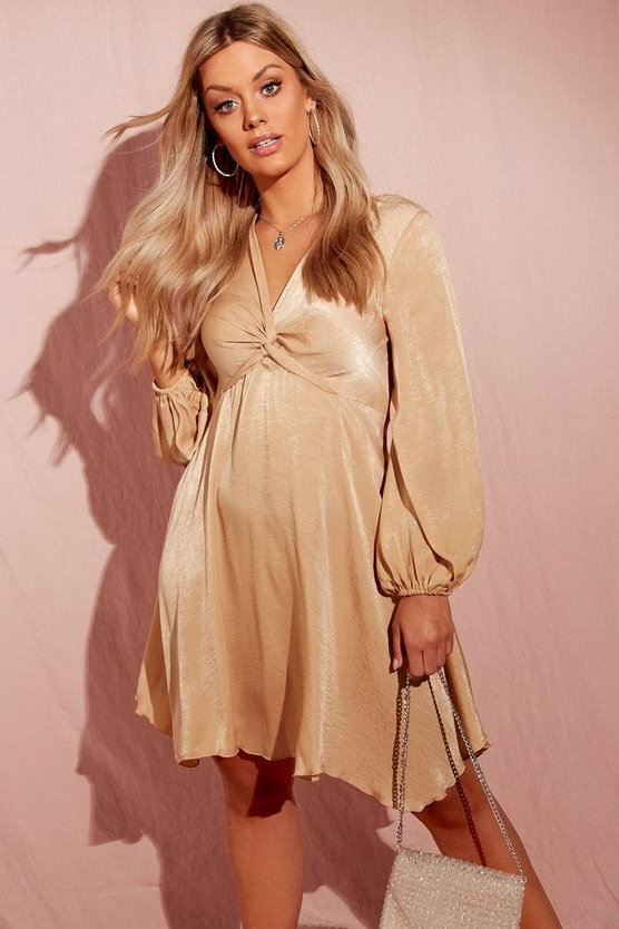 Plus Hammered Satin Blouson Sleeve Skater Dress