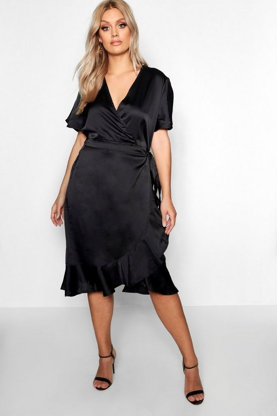 Plus Satin Angel Sleeve Midi Dress