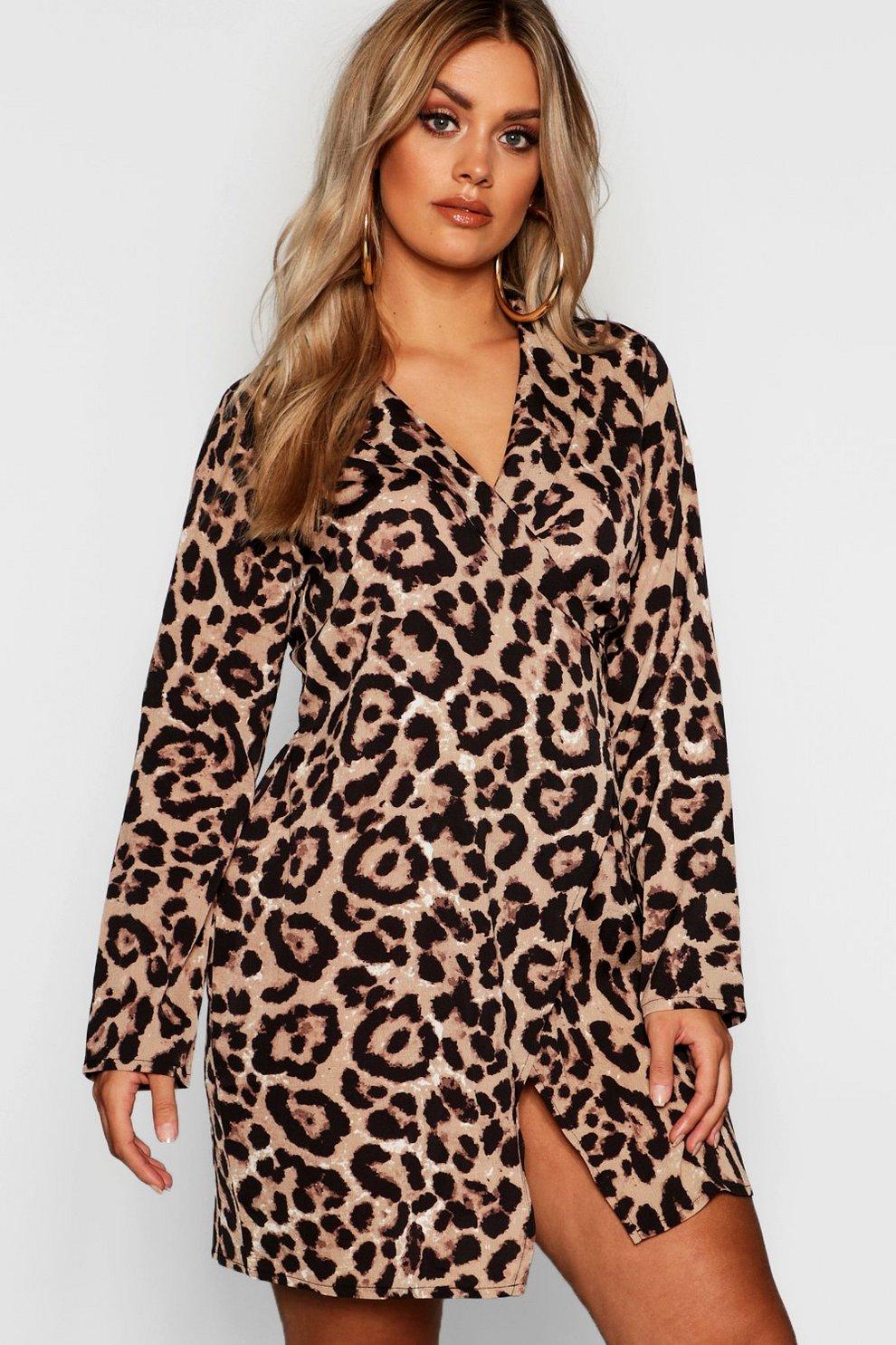 eff9f2c4a2dc7 Plus Leopard Print Wrap Shirt Dress