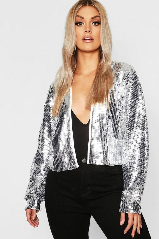Plus Large Sequin Balloon Sleeve Jacket