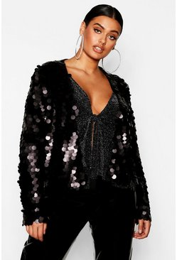 Black Plus Large Sequin Crop Jacket