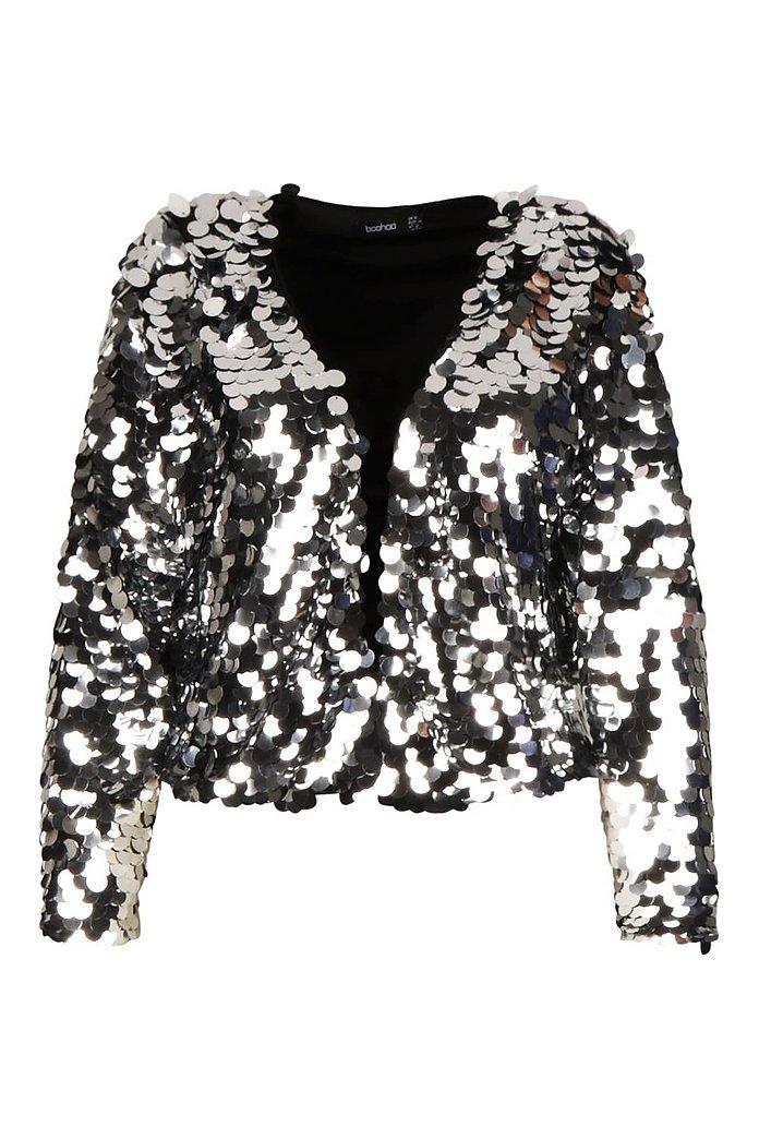 Plus kurze Jacke mit großen Pailletten | boohoo