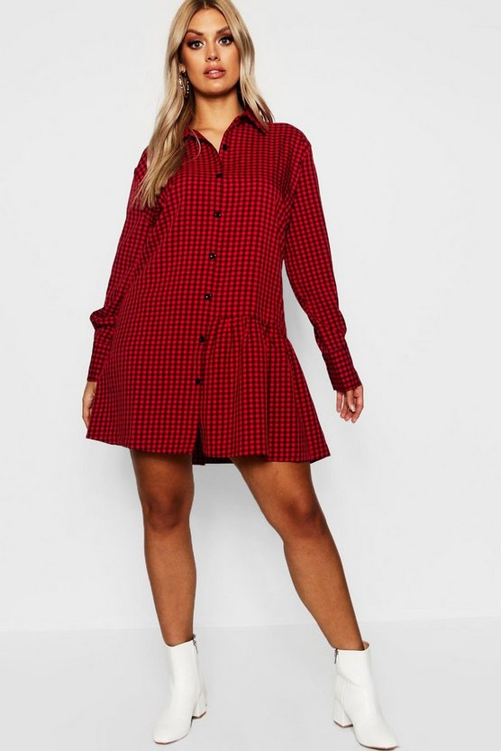 Plus Check Shirt Dress, Red, Donna