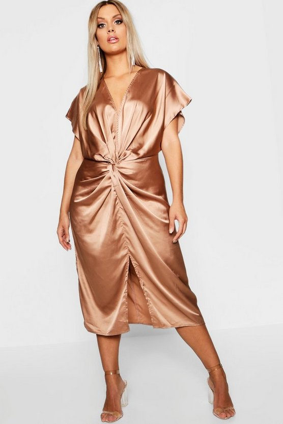 Plus Knot Satin Midi Dress