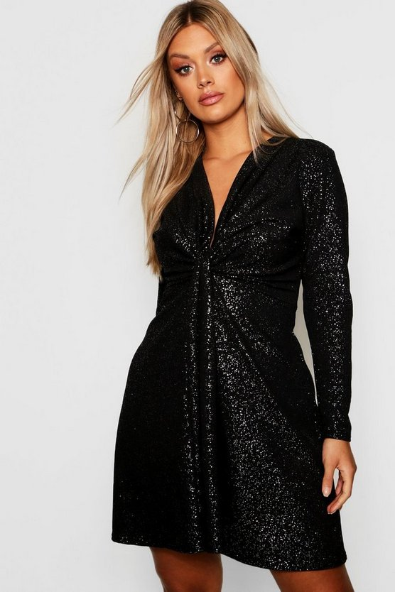 Plus Plunge Glitter Skater Dress by Boohoo