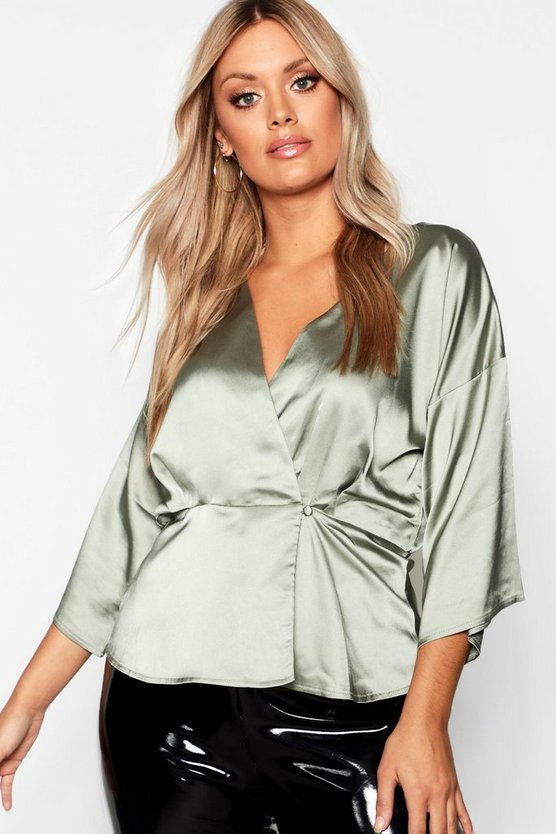 Plus Kimono Sleeve Button Detail Satin Top