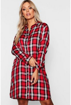 Womens Red Plus Tartan Check Shirt Dress