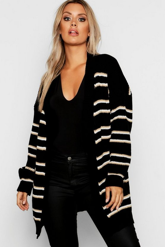 Womens Black Plus Stripe Chunky Oversized Cardigan