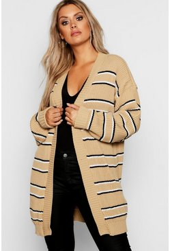 Womens Camel Plus Stripe Chunky Oversized Cardigan