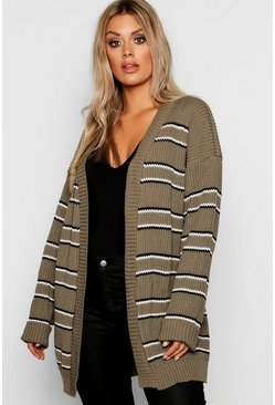 Womens Khaki Plus Stripe Chunky Oversized Cardigan