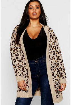 Womens Camel Plus Leopard Knitted Oversized Cardigan