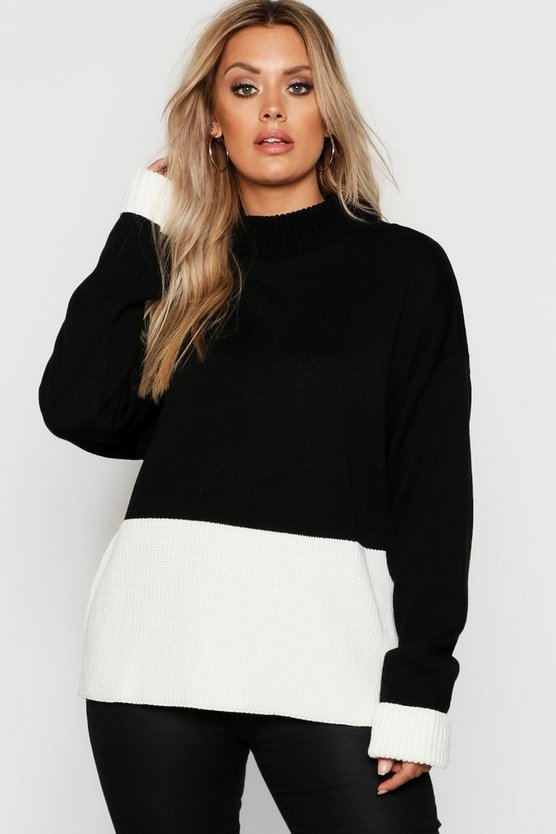 Black Plus Colour Block Oversized Jumper