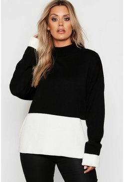 Womens Black Plus Colour Block Oversized Jumper