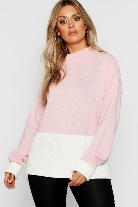 Womens Hot pink Plus Colour Block Oversized Sweater