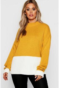 af2d7c9fa669f Womens Mustard Plus Colour Block Oversized Jumper