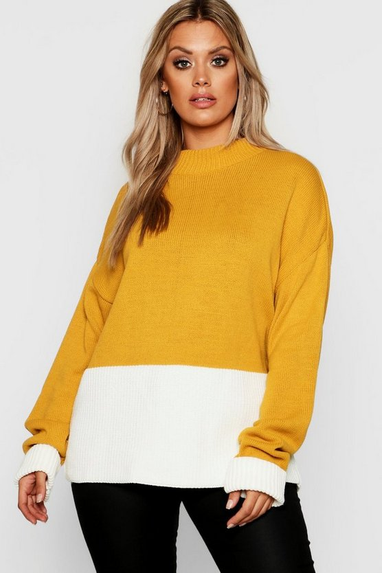 Womens Mustard Plus Colour Block Oversized Jumper