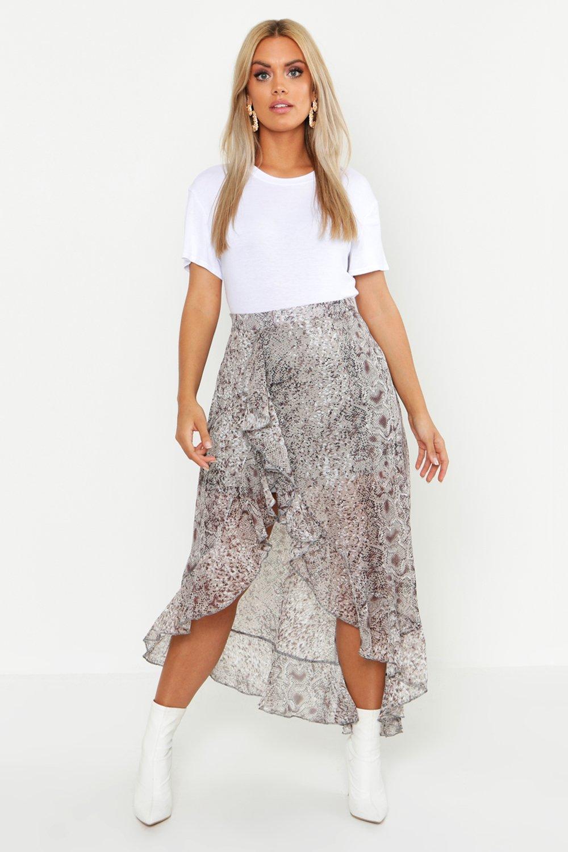 Plus Snake Print Ruffle Skirt