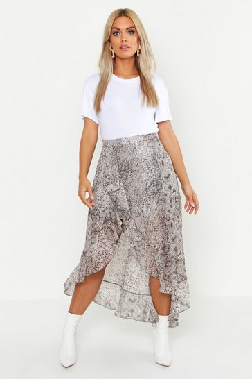 Brown Plus Snake Print Ruffle Skirt