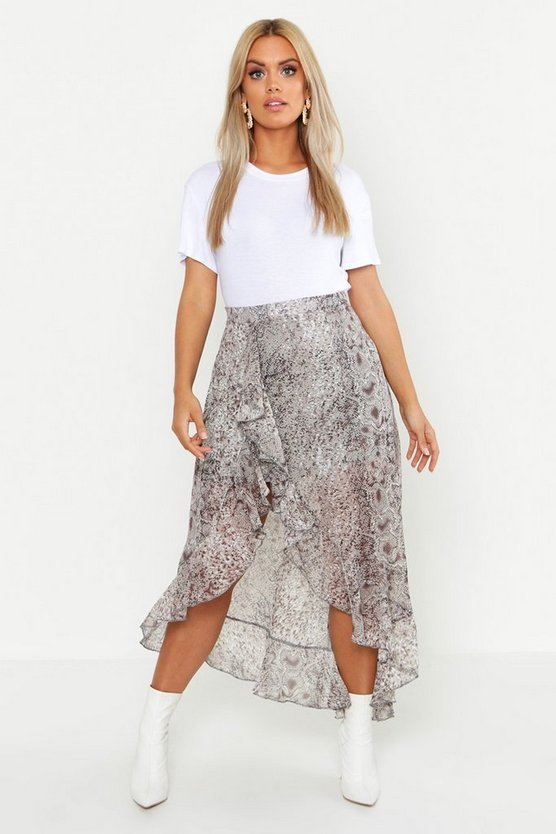 Plus Snake Print Ruffle Skirt, Brown, MUJER