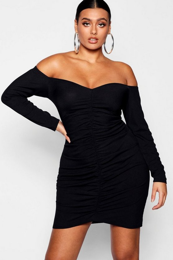Womens Black Plus Ruched Bardot Sleeved Mini Dress