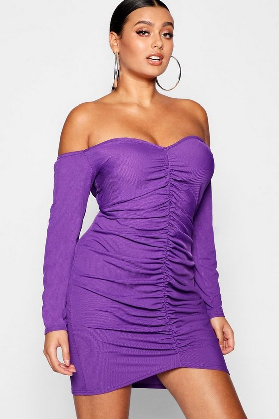 Plus Ruched Bardot Sleeved Mini Dress