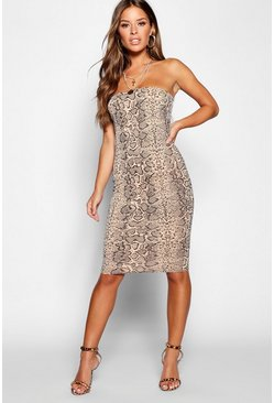 Womens Mocha Petite Snake Print Bandeau Dress