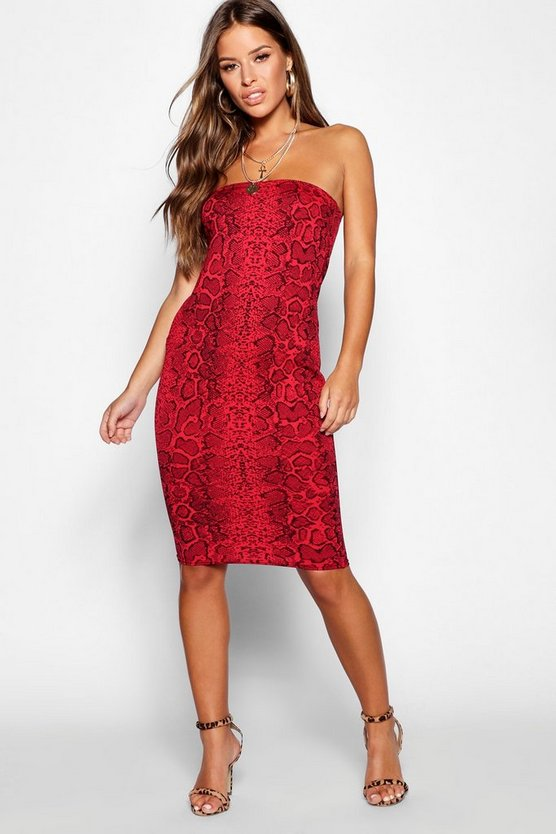 Womens Red Petite Snake Print Bandeau Dress