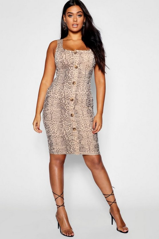 Plus Snake Print Button Through Dress