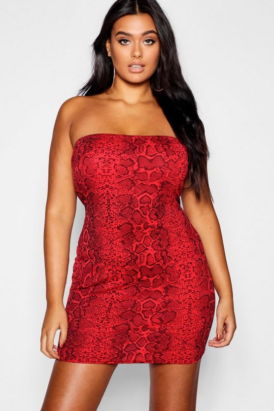 Plus Snake Print Bandeau Dress