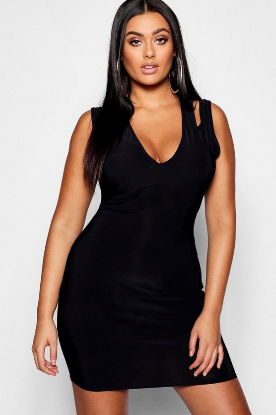 Womens Black Plus Slinky Plunge Strap Detail Bodycon Dress
