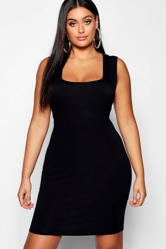 Womens Black Plus Square Neck Bodycon Mini Dress