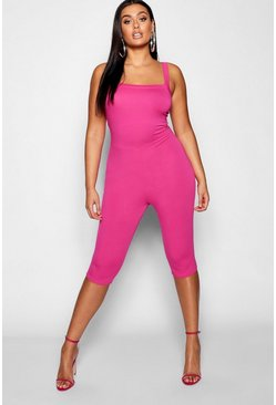 Womens Bright pink Plus Square Neck Longline Unitard