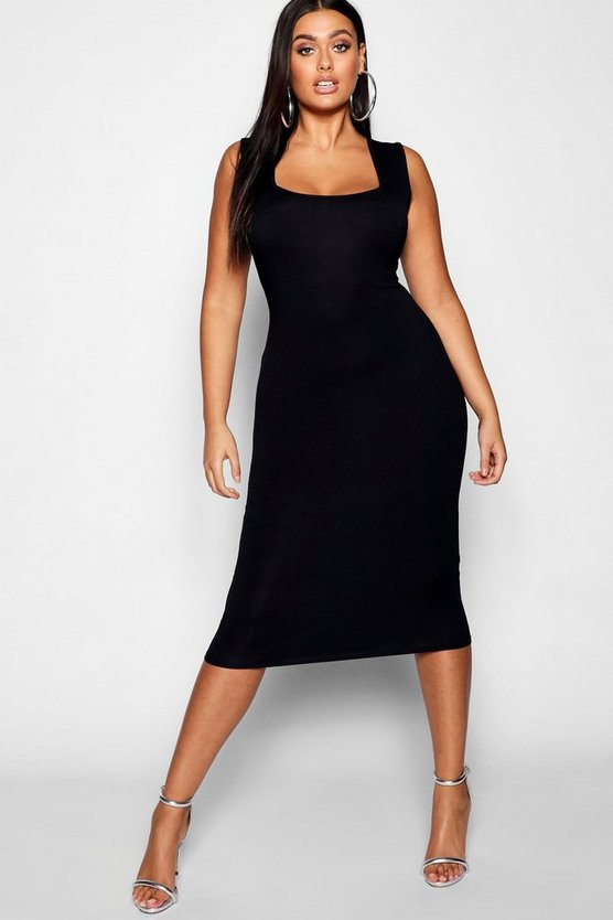 Plus Square Neck Bodycon Midi Dress