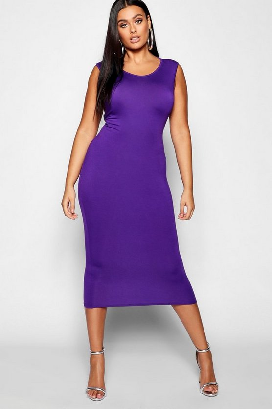Plus Sleeveless High Neck Midi Dress