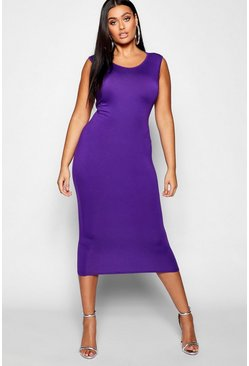 Womens Jewel purple Plus Sleeveless High Neck Midi Dress
