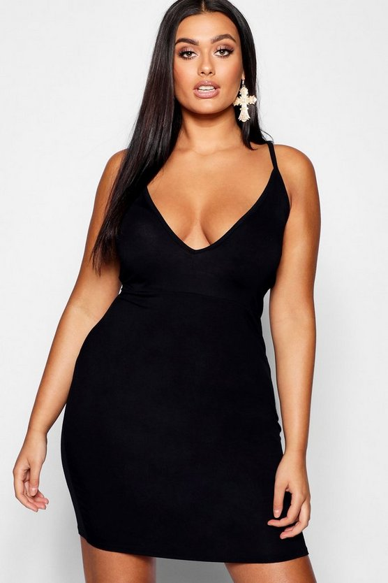 Womens Black Plus Super Plunge Bodycon Dress