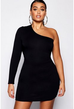 Womens Black Plus One Shoulder Bodycon Mini Dress