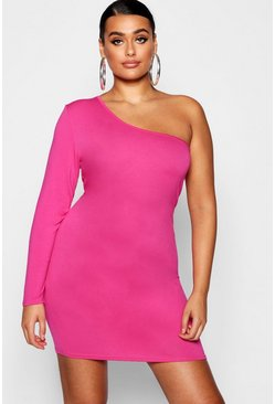 Womens Bright pink Plus One Shoulder Bodycon Mini Dress