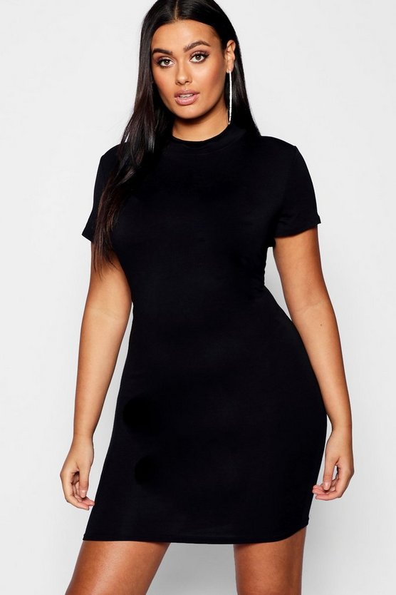 Womens Black Plus High Neck Short Sleeved Bodycon Dress