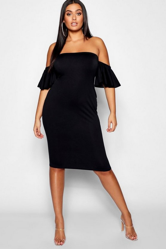 Womens Black Plus Flare Bardot Sleeve Bodycon Midi Dress