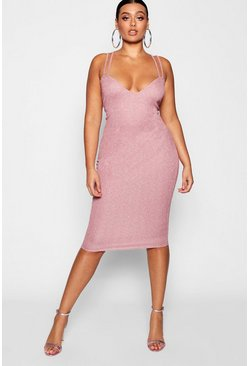 Womens Pink Plus Glitter Shimmer Double Strap Midi Dress