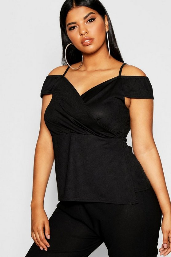 Womens Plus Off Shoulder Wrap Front Top