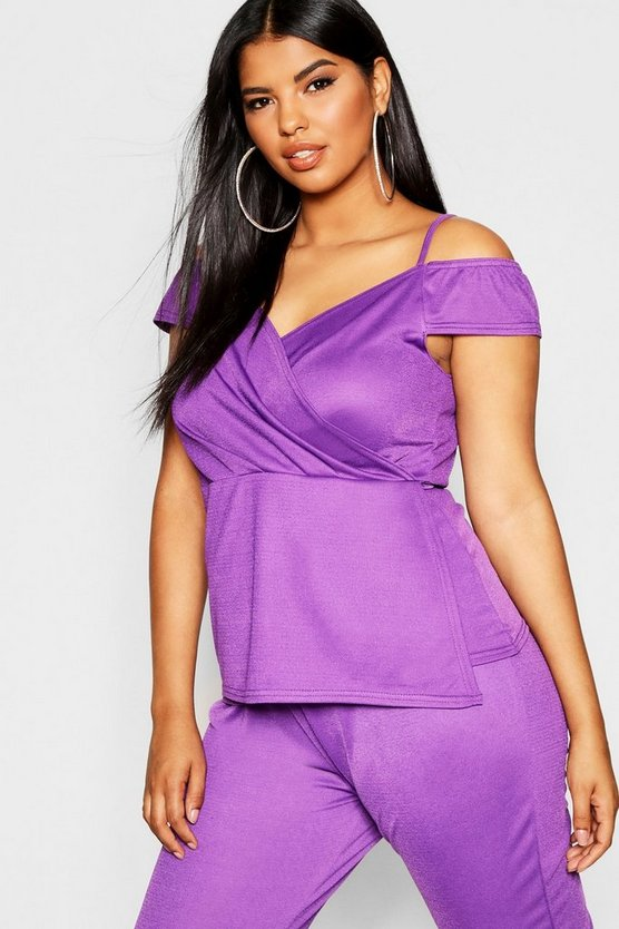 Plus Off Shoulder Wrap Front Top