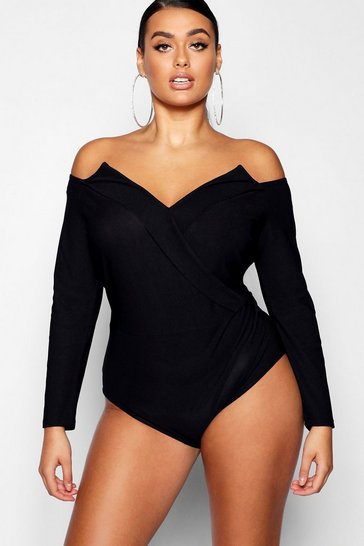 Black Plus Structured Wrap Bodysuit
