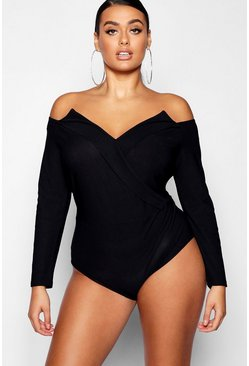 Womens Black Plus Structured Wrap Bodysuit